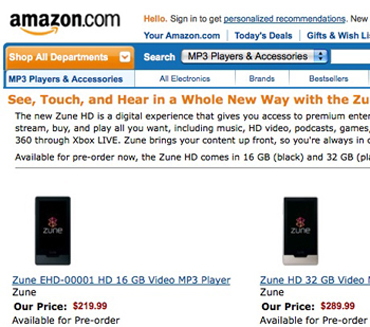 zunehd Zune HD Pricing Confirmed by Amazon and Best Buy