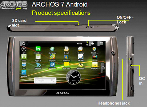 archos7 Archos 7 an Android tablet, leaked by UK store