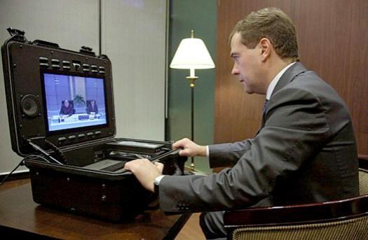Russian President Dmitry Medvedev uses Tandberg Tactical ...