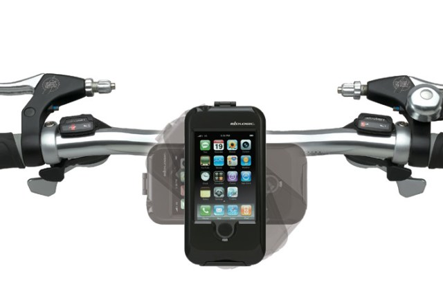 biologic_bikemount_for_iphone Weatherproof iPhone bicycle mount sits on your handlbars feeding you data