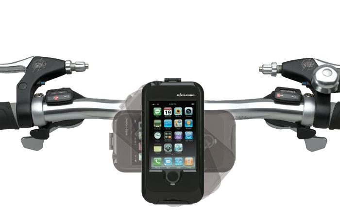biologic_bikemount_for_iphone Weatherproof iPhone bicycle mount sits on your handlbars feeding you data