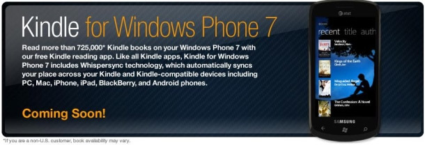 kindle-phone7 Windows Phone 7 to get an Amazon Kindle app too