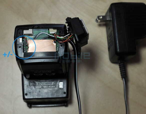 mod-sb600-02 Nikon SB-600 Flash AC/DC power modification