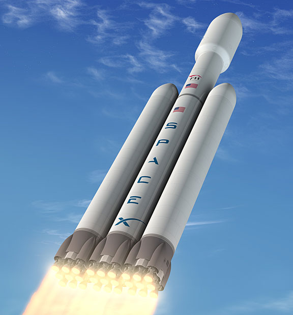 falcon-heavy-3k SpaceX Falcon Heavy Rocket To Carry 117,000 Pound Payloads In 2013