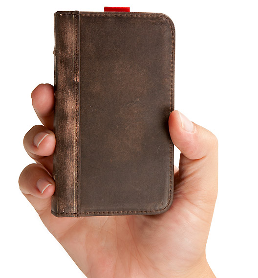 leatherboard-iphone4-case  BookBook case converts iPhone 4 into storied old tome