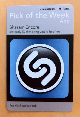 "starbucks-shazam-app Coming soon to Starbucks: Free iOS ""App of the Week"" cards"