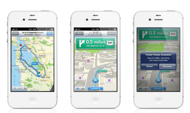 phones-e1339593243856-640x383 Apple Maps Has Its Own Turn-By-Turn Navigation Using SIRI For Narration