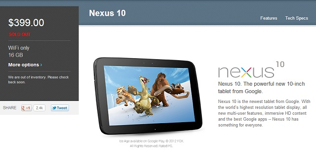 nexus10sold Samsung Nexus 10 16GB Model Now Sold Out in US
