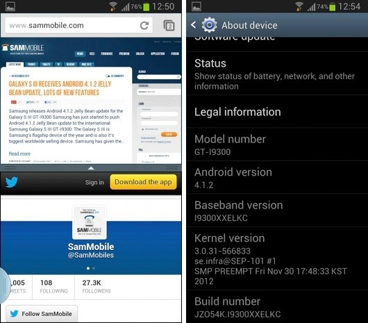 s3 Samsung Galaxy S3 International Users Start to See Android 4.1.2, Includes Multi-Window Support
