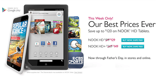 nook-hd-hdplus-fathers-day Barnes & Noble NOOK HD And HD+ on Sale Through Father's Day, Starting at $129