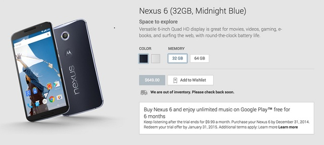 nexus-6-google-play-store Nexus 6 Was Available To Be Pre-ordered On Google Play Store