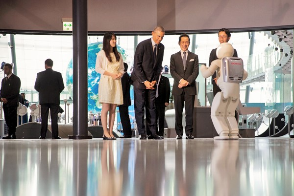 Robot1.5 President Obama Plays Football with Japanese Robot (VIDEO)