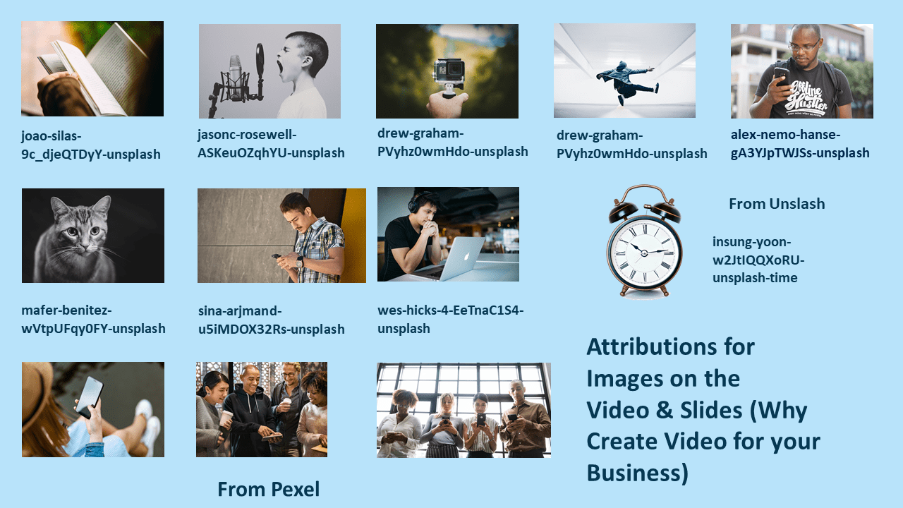 Attributions for Images on Videos and Slides