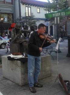Just beautiful. He plays so well, it is a treat to hear him when you walk down street.. Please TIP him.
