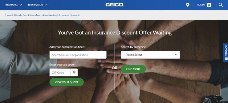 GEICO membership desktop landing page.