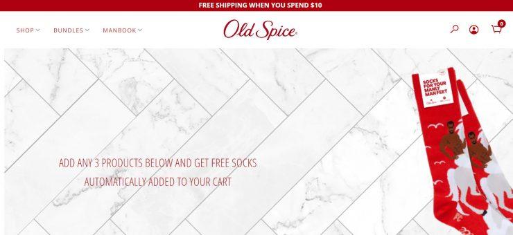 Old Spice's desktop landing page.
