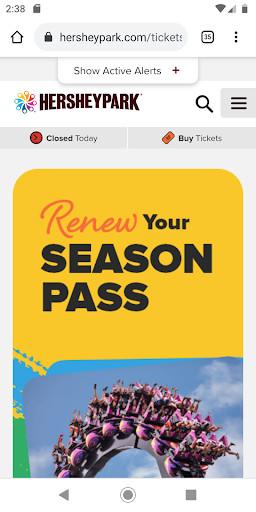 Hersheypark season pass landing page for mobile.