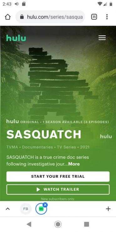 Hulu mobile landing page