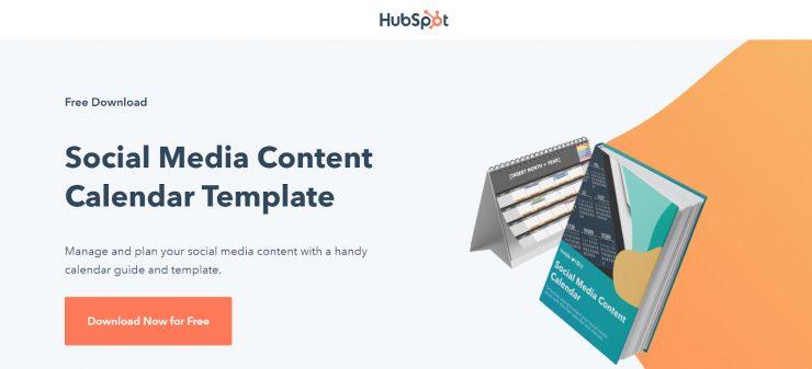 Hubspot's desktop landing page for their social media content calendar template.
