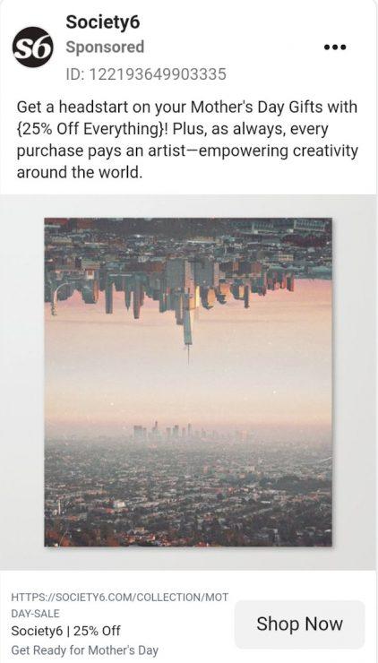 Society6 ad