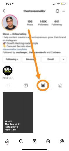 include a carousel in an Instagram Guide
