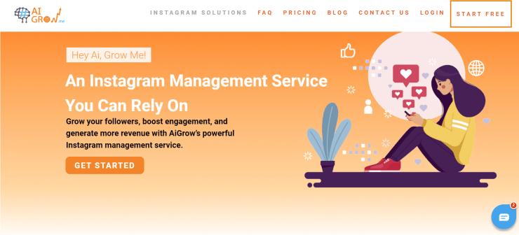 AiGrow homepage screenshot