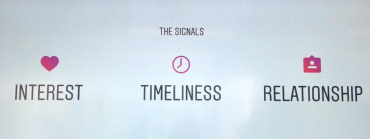 An image of Instagram's Big 3: Interest, Timeliness, Relationship.