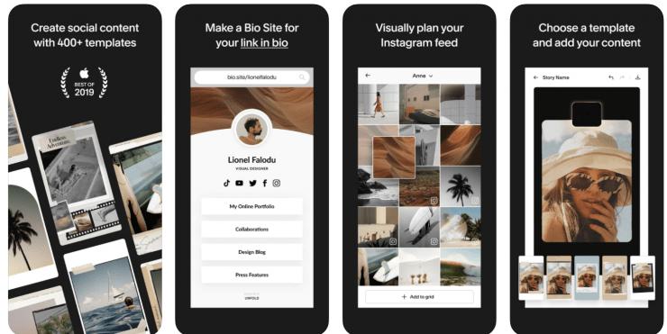 Unfold app screenshots