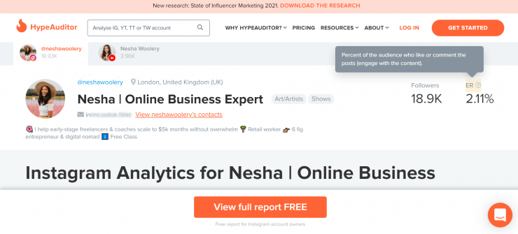 HypeAuditor's free analysis of a business owner's profile.
