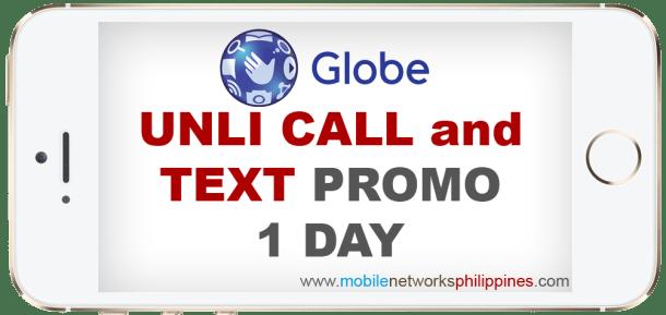 GOUNLI30 Globe Unli Call and Text 1 Day Promo
