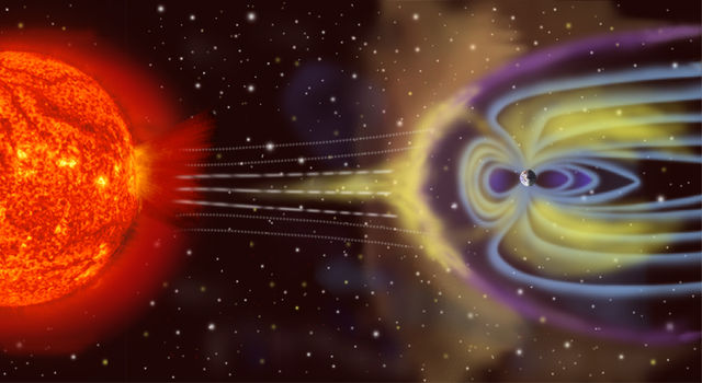 Magnetosphere rendition - (C) NASA - Public domain via Wikimedia Commons