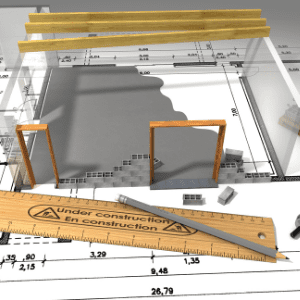 construction site blueprints and 3-D rendering of structures