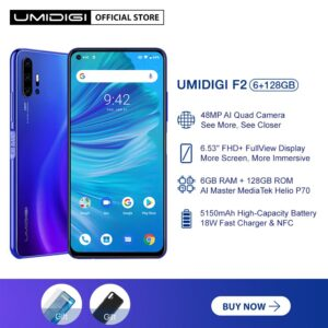 UMIDIGI F2 Cellphone Android 10 Global Version 6.53 FHD+6GB 128GB 48MP AI Quad Camera 32MP Selfie Helio P70 Cellphone 5150mAh NFC Smartphone