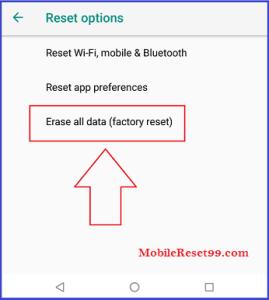 Motorola (Android 8 Oreo) factory reset - erase all data