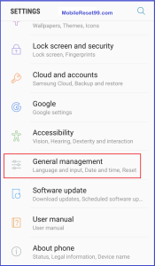 Factory reset General option
