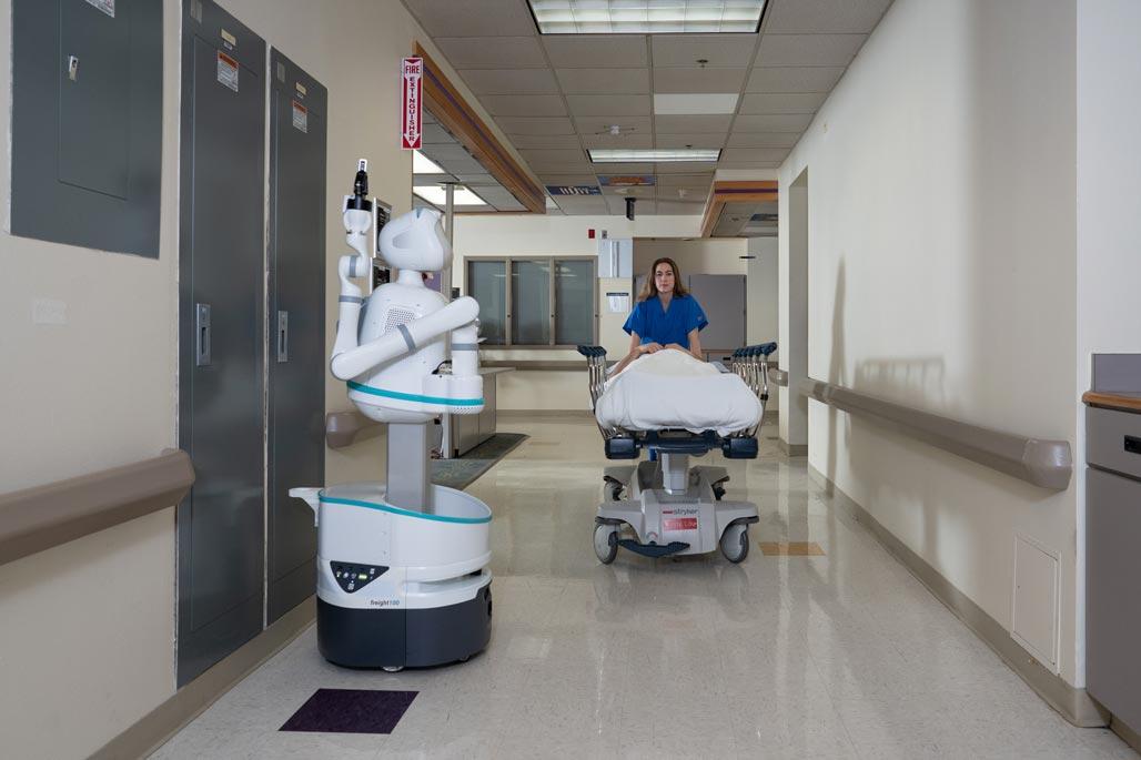 Moxi Robot in a hospital hallway