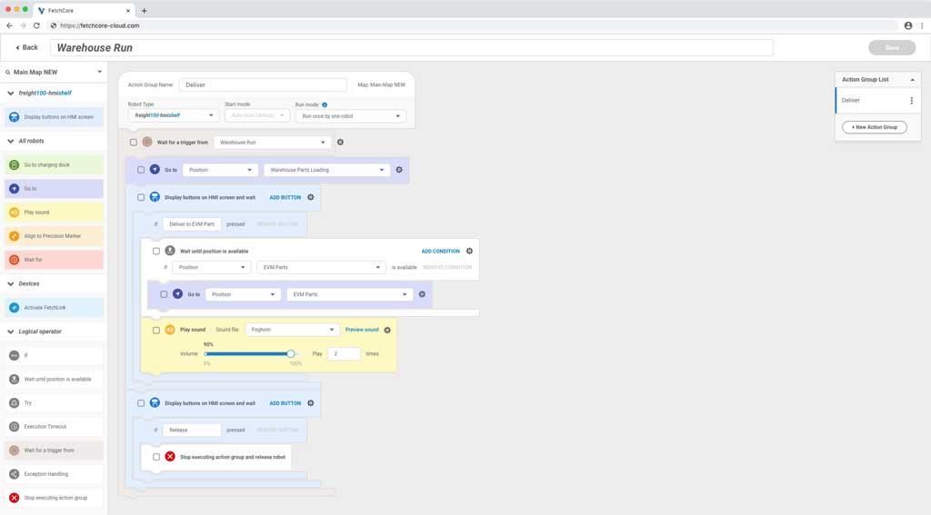 Fetch Robotics Warehouse Run Workflow Editor code example