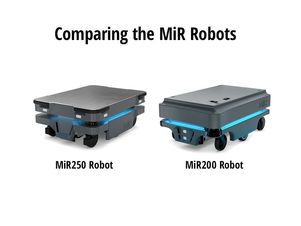 MIR 250 and MIR 200 robots side by side
