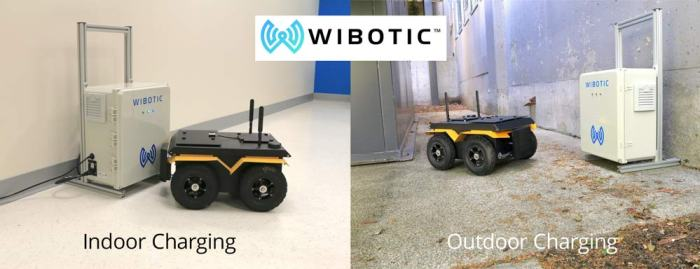 Wibotic indoor and outdoor charging station with a robot