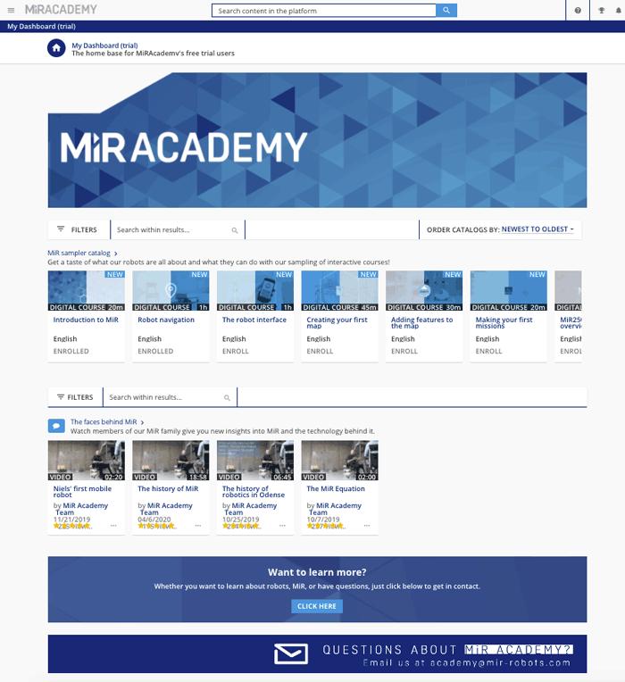 MiR Academy dashboard