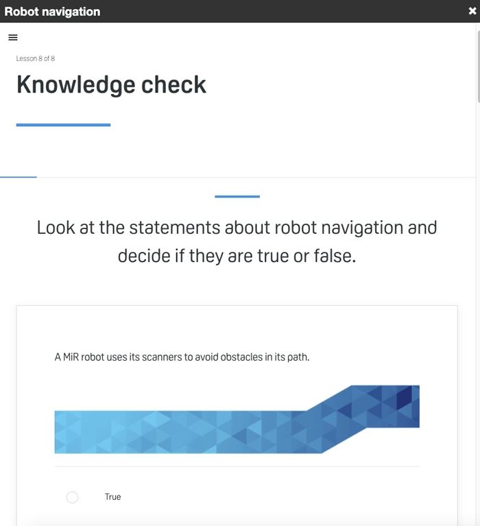 sample knowledge check question from MiR Academy