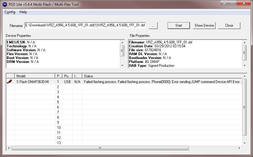 RSD Lite Motorola Flash Tool