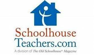 Picture of blue schoolhouse with red and blue letters stating Schoolhouse Teachers on white background.