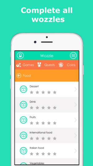 Complete all wozzles. iPhone with screen of wozzles (categories) to complete.
