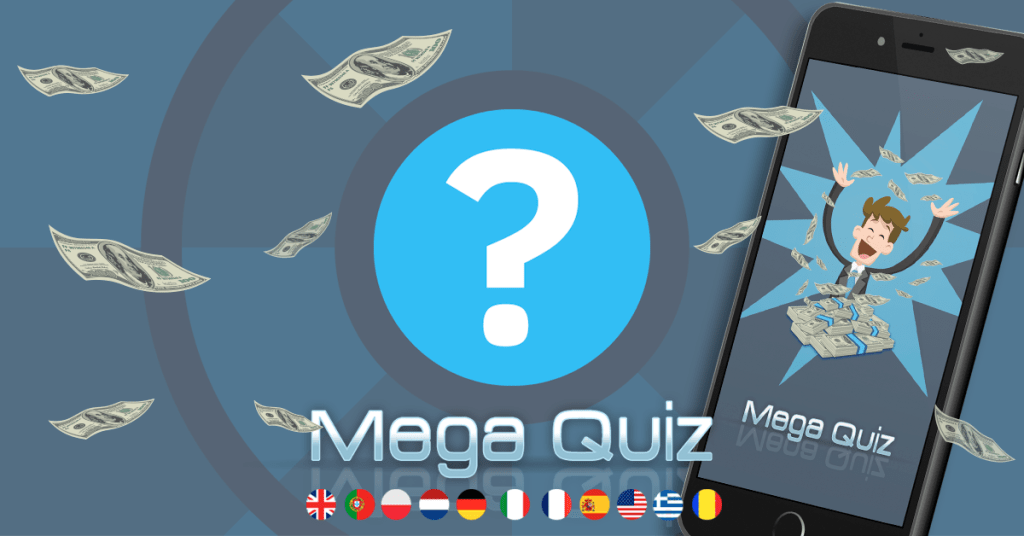 Mega Quiz promo image. Money bills flying over the image.