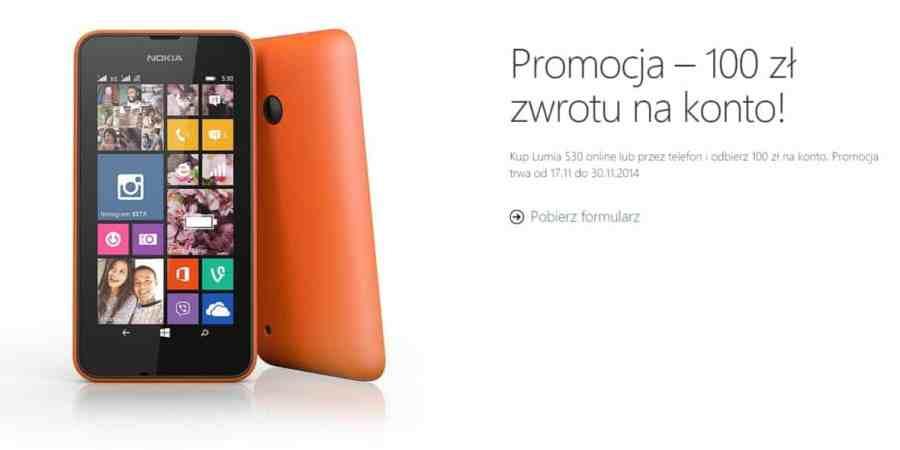 Nokia Lumia 530 o 100 złotych taniej