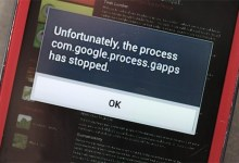 com.google.process.gapps stopped, android