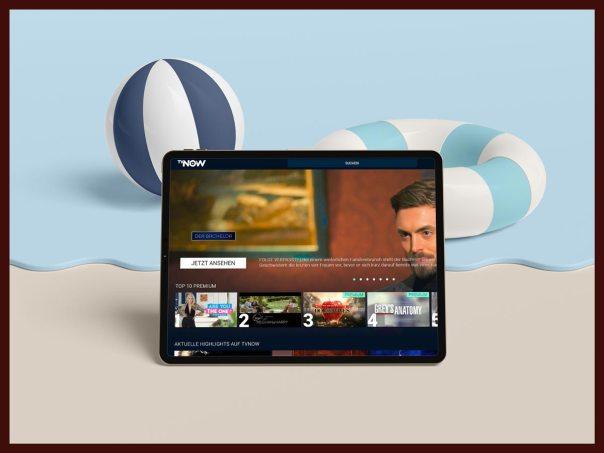 TVnow am iPad am Strand