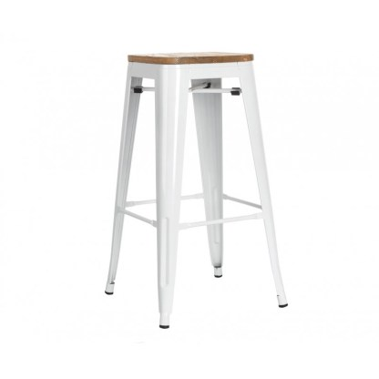Taburete Wood Tolix Style Blanco
