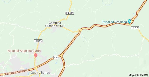 Carreta na Rodovia BR-116 Campina Grande do Sul